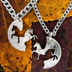 Horse Pendant Couple Necklace,Pendants for friends American Coin Necklaces