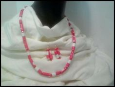Red White Paper Bead necklace and earrings by SibrinaCreations, $6.00