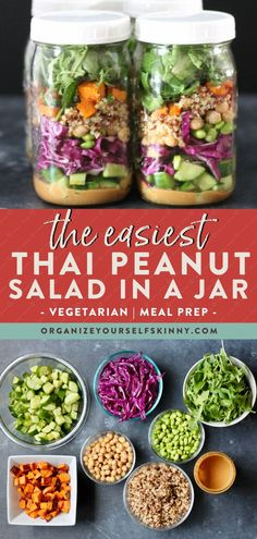 The Easiest Thai Peanut Salad in a Jar | Vegetarian Recipes - Looking for a healthy and delicious lunch meal prep recipe for the week? This Thai peanut salad is filled with crunchy purple cabbage and cucumber, roasted sweet potatoes, edamame, quinoa, greens, and dressed with the most delicious homemade Thai peanut dressing | Organize Yourself Skinny | Healthy Salad Recipes | Meal Prep for Beginners | Vegetarian Lunch Ideas #vegetarian #lunch #mealprep #salad #healthyeating