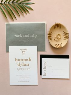 Letterpress Invitations with Vellum Envelopes for a Modern, Minimalist California Casual Wedding