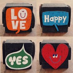 #015 木のブロックシリーズ - LOVE YES Happy Made by Toru Fukuda #tallercarpinteria
