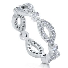 BERRICLE Micro Pave Cubic Zirconia CZ Sterling Silver Woven Eternity Engagement Wedding Ring Band Size 5