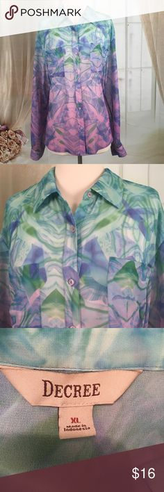Decree Water Colors Long Sleeved Blouse Beautiful long sleeved blouse in water colors.  So love this!! Two front pockets.  Has button tabs to hold up rolled sleeves. 100% polyester.  New condition.  Size XL.  Bust 42 and length 26.  TB48 Decree Tops Blouses