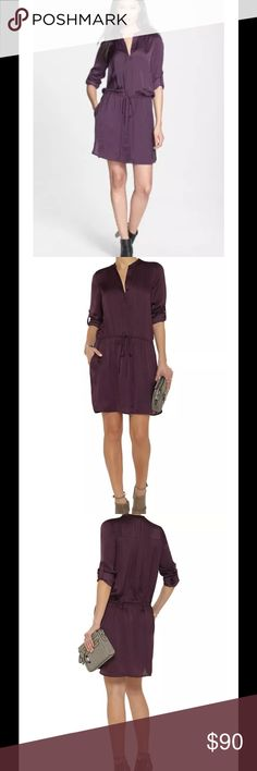 """VINCE Purple Satin Popover Shirt Dress Tunic $295 VINCE Purple Satin Popover Drawstring Shirt Dress Tunic Sz L Large 22"""" armpit to armpit 38 """" shoulder to hemline Side vented hemline Split v-neckline Covered button placket Drawstring waistband Back yoke with box pleats Long sleeves with button cuffs Button tab sleeves for rolled styling Slit front pockets """"GRP""""  grape purple washed satin - 100% polyester Vince Dresses"""
