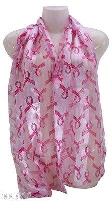 "Pink Ribbon Scarf Breast Cancer Awareness White Pink Ribbon Print 13""x 60"" | eBay"