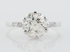 Filigree Jewelers :: Original Antique Art Deco 1.77ct Old European Cut Diamond Engagement Ring in Platinum