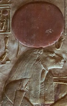 "the Goddess Sekhmet wearing the Solar Crown with the Uraeus; detail from the II Hypostyle Hall of the ""Great Temple"" of King Sethi I at Abydos"