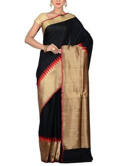 Black pure tussar silk saree enhanced with zari and resham woven geometric designs that adds beauty to the look. Comes with matching blouse. Category:Tussar Color:Black Fabric:Pure Silk Product Code:UD458B8 Cost: $197