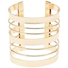Charlotte Russe Caged Cuff Bracelet (€5,26) ❤ liked on Polyvore featuring jewelry, bracelets, gold, bangle cuff bracelet, gold jewellery, cage jewelry, gold cuff bracelet and gold jewelry