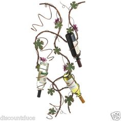 CBK Grape and Leaf Wall Six Wine Bottle Metal Wall Holder $99.99