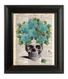 SKULL Teal BLUE Gypsy ROSES Art Print Bouquet by PatricianPrints, $10.00