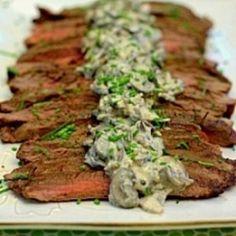 Grilled Flank Steak with Creamy Mushroom Sauce