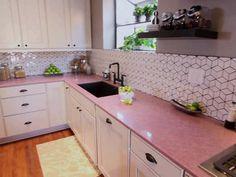 Pink quartz counter top from Kitchen Cousins
