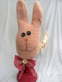 Wool Rabbit doll Primitive MakeDo doll Bunny by Handofbelapeck, $21.50