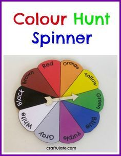 Colour Hunt Spinner for preschool classroom transitions, circle time, or free play. Preschool Colors, Teaching Colors, Preschool Classroom, Classroom Activities, In Kindergarten, Learning Activities, Toddler Activities, Preschool Activities, Colour Activities For Preschoolers