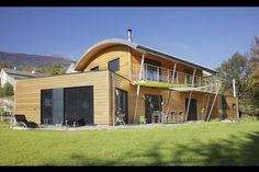 Myotte Duquet architecture bois, reportage construction maisons ossature bois - Toiture cintrée