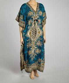 Look at this #zulilyfind! Green & Gold Arabesque Cape-Sleeve Dress - Plus #zulilyfinds