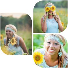 Senior pictures in a sunflower field