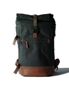 compagnon backpack | dark green light brown | $450