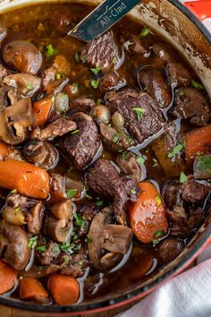 Beef Bourguignon made with pearl onions, carrots, mushrooms, beef, and burgundy red wine is a recipe that's hearty and perfect for when it's cold outside! Easy Soup Recipes, Beef Recipes, Chicken Recipes, Dinner Recipes, Cooking Recipes, Dinner Ideas, Savoury Recipes, Cooking Ideas, Recipies