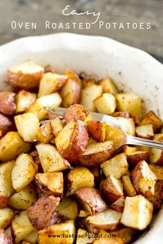 Easy Oven Roasted Potatoes >> by Tastes of Lizzy T's. Simply seasoned, easy oven roasted potatoes make the ideal side dish for a meat and potatoes dinner. A high baking temperature makes the potatoes sizzle and brown nicely.