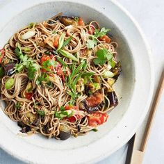 """8,198 Likes, 47 Comments - Martha Stewart (@marthastewart) on Instagram: """"Bid farewell to sad desk lunches and bring in this make-ahead soba salad with grilled eggplant and…"""""""