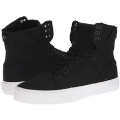 Supra Skytop D (Black Canvas) Women's Skate Shoes ($90) ❤ liked on Polyvore featuring shoes, athletic shoes, tenis, breathable shoes, pointed shoes, lightweight shoes, skate shoes and black pointy shoes