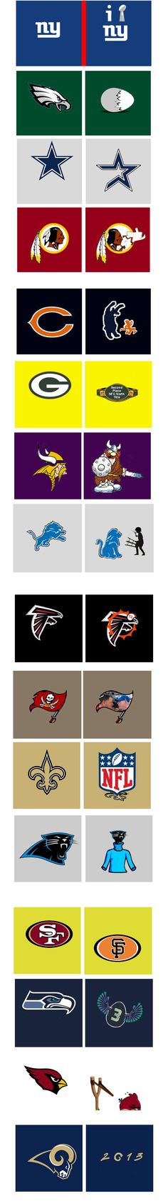 funny NFL team logo makeovers (totally a spoof, people). The Cardinals one is HILARIOUS.