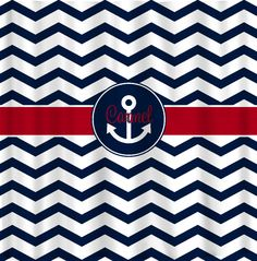Custom Personalized Shower Curtain Chevron Navy Blue and Red accent with ANCHOR Frame - ANY COLOR Choice. $78.00, via Etsy.