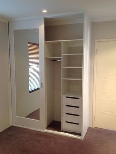 Mirror sliding door wardrobe with compartments