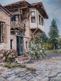 Arte Fashion, Pics Art, Turkish Art, Acrylic Painting Techniques, Nature Drawing, Beautiful Artwork, Painting Inspiration, Old Houses, Fine Art Photography