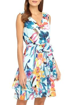 Free shipping and returns on Tahari Belted Floral Print Chiffon A-Line Dress (Regular & Petite) at Nordstrom.com. Airy ruffles and watercolor flowers add timeless charm to this faux-wrap sundress.