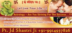 Are you facing love problem in your life, get solutions from the specialist astrologer Pandit Jd shastri ji. Pick your phone and call at +91-9914937826