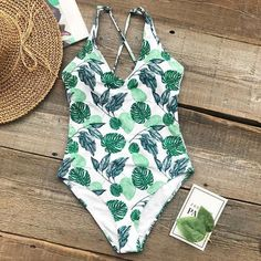 Beauty In Nature Leafy Green One Piece Swimsuit