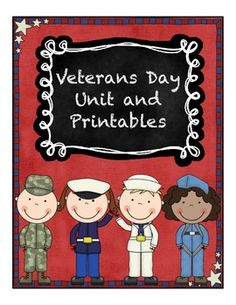 Veterans Day Unit and Printables Lots of math worksheets with a Veterans Day theme
