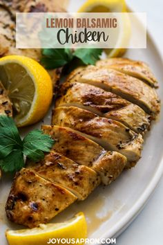 Lemon Balsamic Chicken - easy and healthy grilled or pan fried chicken recipe marinated with lemon juice and balsamic vinegar. Flavorful meat dish for dinner and save well as leftovers or meal prep! #chicken #grilled #panfried #healthy #lemon #balsamic #dinner #easydinner #meat #marinate #grilling #glutenfree #joyousapron Balsamic Chicken Recipes, Best Chicken Recipes, Turkey Recipes, Vegetarian Recipes, Healthy Recipes, Slow Cooked Chicken, Pan Fried Chicken, Healthy Grilling, Grilling Recipes