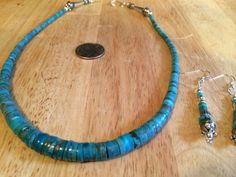 """KINGMAN TURQUOISE Graduated Heishi Sterling 18"""" Necklace. Seamed/Bench Beads. USA"""