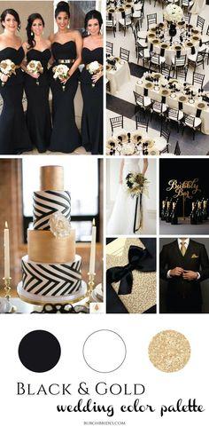 black and white wedding theme; Black & Gold Wedding Inspiration from Burgh Brides Gold Wedding Colors, Gold Wedding Theme, Wedding Color Schemes, Gold Wedding Dresses, Wedding Theme Ideas Unique, March Wedding Colors, Perfect Wedding, Dream Wedding, Wedding Day