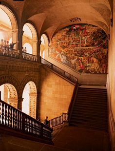 Diego Rivera's 1930's mural Epic of the Mexican People—Mexico Today and Tomorrow, in the National Palace.