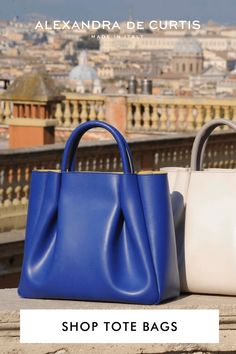Our women's bags are designed for longevity thanks to our smooth and easy to clean Italian leather that holds its shape over time amazingly well. The Amalfi ruched tote comes in two sizes: midi, for everyday use and maxi, for when you need that extra bit of storage. Italian Leather Handbags, Designer Leather Handbags, Women's Bags, Purses And Bags, Barrel Bag, Blue Handbags, How To Make Handbags, Italian Fashion, Amalfi