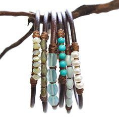quartz gem linen leather bangle bracelets