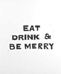 House Rules of Eat Drink and Be Merry PRINT Black Linocut 8x10 printmaking