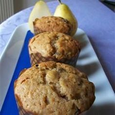 """Pear Bread II By: Anna """"The delicate flavor of fresh pears and pecans dance enchantingly in this lovely summer loaf. Freezes well if double wrapped. Delicious and easy. Good Food, Yummy Food, Tasty, Healthy Food, Pear Bread, Pear Muffins, Carrot Cake Cupcakes, Recipe Details, Sweet Bread"""