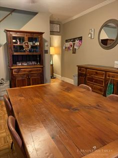 """(E. Braun farm table, sideboard and hutch, purchased about 8 years ago.) """"I always tell people about your furniture. We have a really small house and use the dining room all the time too and it's held up great. The middle drawers of the buffet store my kids art supplies & random junk so they are opened numerous times a day and we have no issues. Thanks!"""" www.braunfarmtables.com"""