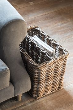 This grey and buff rattan wicker magazine basket is perfect for storing your glossy magazines and newspapers in style. Lined Wicker Baskets, Wicker Baskets With Handles, Rattan Basket, Room Magazine, Magazine Storage, Magazine Holders, Magazine Rack, Storage Baskets With Lids, Newspaper Basket