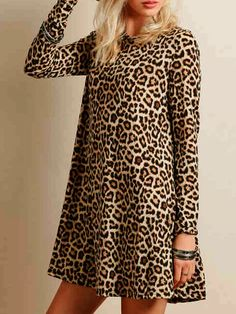 Leopard Print Long Sleeve A-line Dress