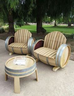 Wine barrel bench and table