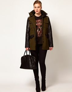 ASOS CURVE Military Jacket With Studded Shoulders