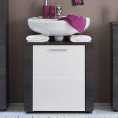 badezimmer waschbeckenunterschrank hochglanz weiß eiche bad