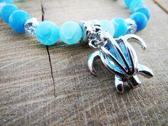 Sea Turtle Bracelet Women Bracelets Blue Agate by BohemianChicbead